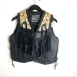 USA Bikers Leather Black Snake Print Fringe Vest